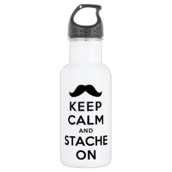 Water Bottle (24 oz) with Keep Calm and Stache On design