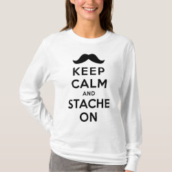 Women's Basic Long Sleeve T-Shirt with Keep Calm and Stache On design