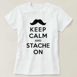 Women's Basic T-Shirt with Keep Calm and Stache On design