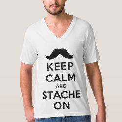 Men's American Apparel Fine Jersey V-neck T-Shirt with Keep Calm and Stach On design