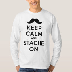 Men's Basic Long Sleeve T-Shirt with Keep Calm and Stache On design
