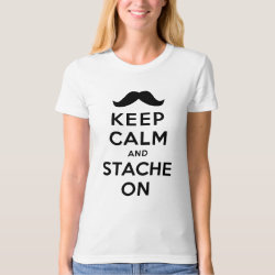 Women's American Apparel Organic T-Shirt with Keep Calm and Stache On design