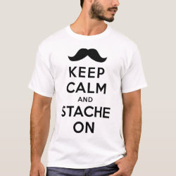 Men's Basic T-Shirt with Keep Calm and Stache On design