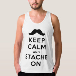 Men's American Apparel Fine Jersey Tank Top with Keep Calm and Stache On design