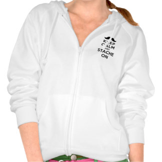Keep Calm and Stache On Hooded Sweatshirts