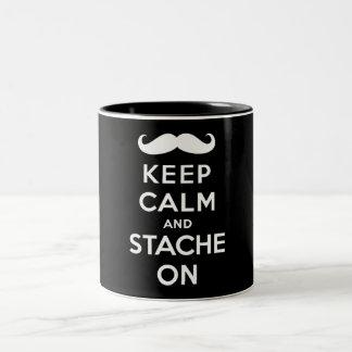 Keep calm and stache on Two-Tone coffee mug