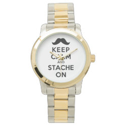 Unisex Oversized Two-Tone Bracelet Watch with Keep Calm and Stach On design