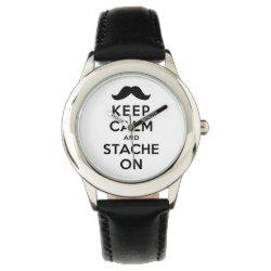 Kid's Stainless Steel Black Leather Strap Watch with Keep Calm and Stache On design