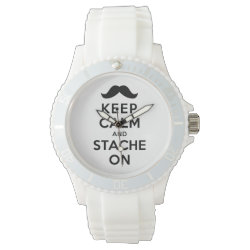 Women's Sporty White Silicon Watch with Keep Calm and Stache On design