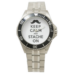 Men's Stainless Steel Bracelet Watch with Keep Calm and Stach On design