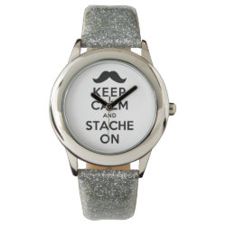 Kid's Silver Glitter Strap Watch with Keep Calm and Stach On design