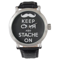Men's Vintage Black Leather Strap Watch with Keep Calm and Stach On design