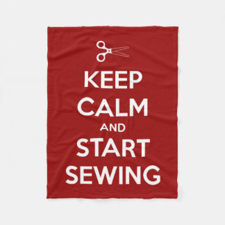 Keep Calm and Start Sewing Red and White Fleece Blanket