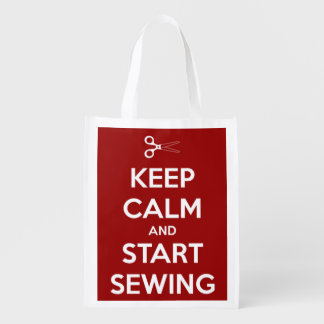 Keep Calm and Start Sewing Red and White Grocery Bags