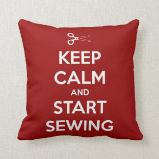 Keep Calm and Start Sewing Red Pillows