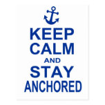 Keep calm and stay anchored postcard