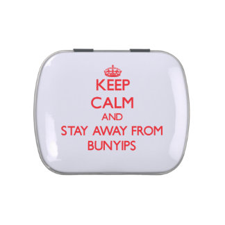 Keep calm and stay away from Bunyips Jelly Belly Candy Tin