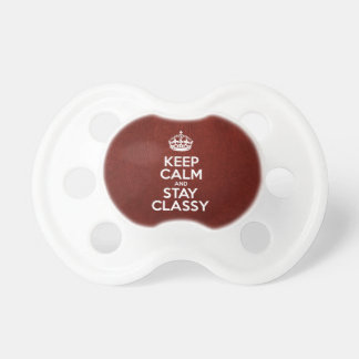 Keep Calm and Stay Classy - Red Leather Pacifier