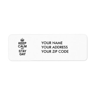 KEEP CALM AND STAY GAY RETURN ADDRESS LABEL