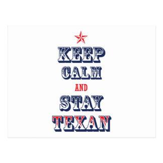 Keep Calm and Stay Texan Postcard