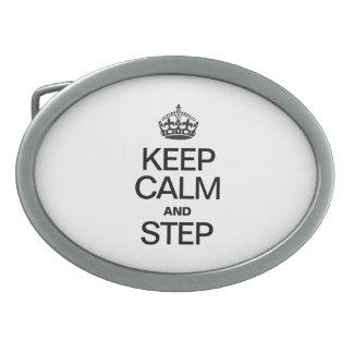 KEEP CALM AND STEP OVAL BELT BUCKLES
