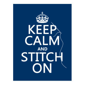 Keep Calm and Stitch On (all colors) Postcard