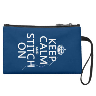 Keep Calm and Stitch On (all colors) Suede Wristlet Wallet