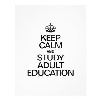 KEEP CALM AND STUDY ADULT EDUCATION CUSTOM FLYER