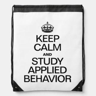 KEEP CALM AND STUDY APPLIED BEHAVIOR DRAWSTRING BAG
