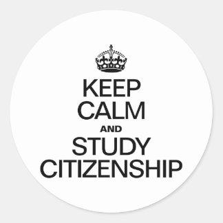 KEEP CALM AND STUDY CITIZENSHIP STICKER