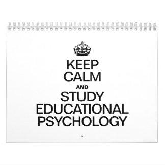 KEEP CALM AND STUDY EDUCATIONAL PSYCHOLOGY WALL CALENDARS