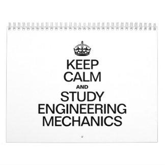 KEEP CALM AND STUDY ENGINEERING MECHANICS WALL CALENDARS