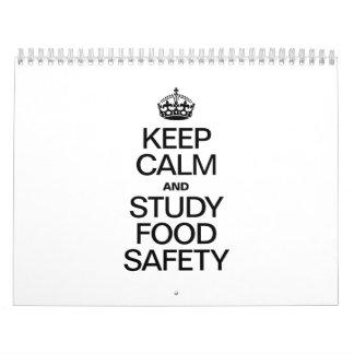 KEEP CALM AND STUDY FOOD SAFETY WALL CALENDAR