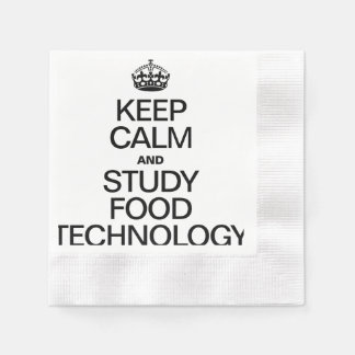 KEEP CALM AND STUDY FOOD TECHNOLOGY COINED COCKTAIL NAPKIN