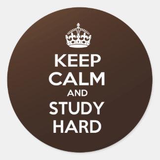 Keep Calm and Study Hard Classic Round Sticker