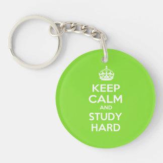 Keep Calm and Study Hard Keychain