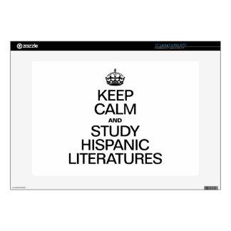 KEEP CALM AND STUDY HISPANIC LITERATURES LAPTOP DECALS