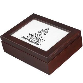 KEEP CALM AND STUDY HOSPITALITY BUSINESS MANAGEMEN KEEPSAKE BOX