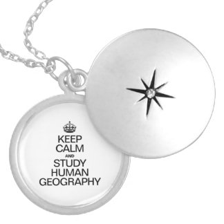 KEEP CALM AND STUDY HUMAN GEOGRAPHY ROUND LOCKET NECKLACE