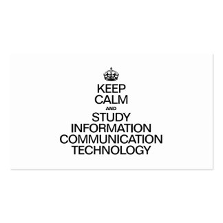 KEEP CALM AND STUDY INFORMATION COMMUNICATION TECH BUSINESS CARD TEMPLATE