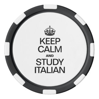 KEEP CALM AND STUDY ITALIAN SET OF POKER CHIPS