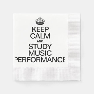 KEEP CALM AND STUDY MUSIC PERFORMANCE COINED COCKTAIL NAPKIN
