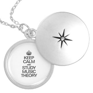 KEEP CALM AND STUDY MUSIC THEORY ROUND LOCKET NECKLACE