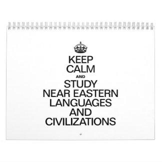 KEEP CALM AND STUDY NEAR EASTERN LANGUAGES WALL CALENDAR