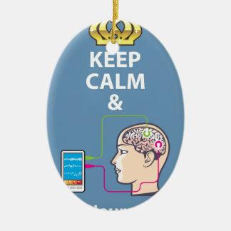 Keep Calm and Study Neuroscience vector Ceramic Ornament