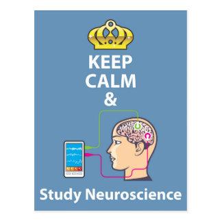 Keep Calm and Study Neuroscience vector Postcard