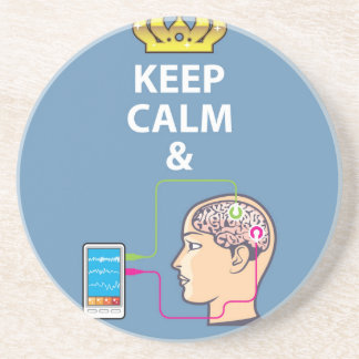 Keep Calm and Study Neuroscience vector Sandstone Coaster