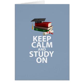 Keep Calm and Study On Original Motivational Print Greeting Card