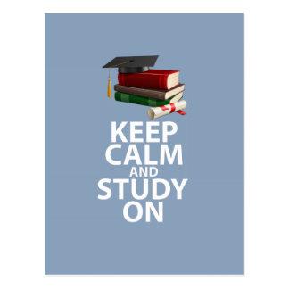 Keep Calm and Study On Original Motivational Print Postcard