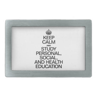 KEEP CALM AND STUDY PERSONAL, SOCIAL, AND HEALTH E BELT BUCKLES